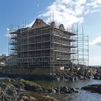 Photograph showing Portencross Castle undergoing conservation